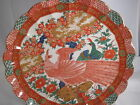 Oriental Peacock Print Japanese Platter Tray Wall Plaque Decorative Plate 12.5
