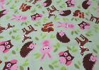 Pink Critter Toss Snuggle Cotton Flannel Fabric BTY Pink Brown