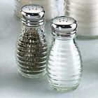 Beehive Glass Salt and Pepper Shakers with Stainless Steel Tops Set of 2 New