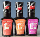 WET N WILD FULL COLLECTION 1STEP WONDER GEL NAIL POLSH LOT OF 3 / NEW/ FREE SHIP