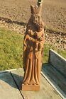 Vintage Virgin Mary Madonna With Child Carved Wood  Statuette Primitive Art