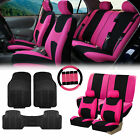Pink Black Car Seat Covers for Auto w/Steering Cover/Belt Pads/Floor Mats