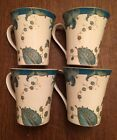 222 FIFTH 4 Mugs Cup Eliza Teal Goes With Peacock Garden Floral Blue Gold New