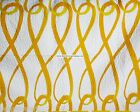 YELLOW ORANGE KING QUILT 3pc DIAMONDS LOOPS WHITE REVERSIBLE SUNSHINE YELLOW