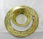 Plate Yellow Gold Floral Rose Bavaria Germany