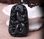 100% Natural Black Obsidian Hand Carved Fish Lucky Pendants + free Necklace