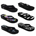 WOMENS LADIES SANDAL FLIP FLOP PLATFORM WEDGE THONGS PRINTING SIZE 5 10
