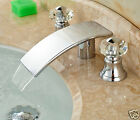 Dual Crystal Knobs Bathroom Sink Faucet Waterfall Spout Mixer Tap Chrome Finish