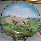 German Porcelain Antique Game Plate Charger Wall Plaque Hand Painted Quail 13