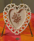 Vintage HEART Plate Westmoreland Almond Milk Glass w Hand Painted Rose Bouquet