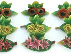 12 German Place Card Holders, Floral Placecard, Flowers Coalport Dresden Germany
