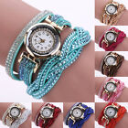Womens Luxury Crystal Band Knitted Wrap Bracelet Dial Quartz Analog Wrist Watch