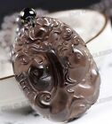 Chinese Natural Obsidian Hand Carved Dragon Fish Lucky Blessing Pendant Necklace