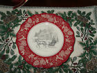 222 FIFTH ANDOVER SET Of 2 SALAD PLATES. CABIN SLEIGH WINTER SCENE CHRISTMAS