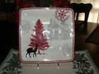 222 FIFTH NORTHWOOD COTTAGE SET OF 4 SQUARE DINNER PLATES**NEW**WINTER/CHRISTMAS