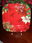 222 FIFTH POINSETTIA HOLLY SET/6 DINNER PLATES CHRISTMAS PINECONES HOLLY