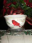 222 FIFTH HOLIDAY WISHES SET OF 4 CEREAL SOUP BOWLS CHRISTMAS POINSETTA RED BIRD