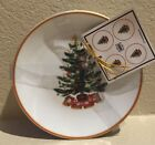 222 Fifth O'Tannenbaum Appetizer Plates Christmas Tree Set 4