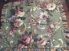 RAYMOND WAITES Studio RUFFLED Floral OLIVE GREEN STANDARD PILLOW SHAMS 20 X 25