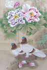 Vintage Hand painted Asian/Chinese Floral and Birds Rice Paper Panel #21