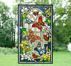 205 x 345 Handcrafted stained glass window panel Butterfly Flower Garden WL