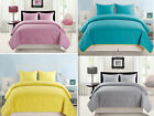 Ocean Oversized 3 Piece Quilted Bedspread Quilt All Sizes 4 Colors Great Value!