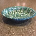 Henn Workshops Green Blue Spongeware Gravy Bowl Stoneware Roseville USA