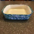Henn Workshops Green Blue Spongeware Square Dish Stoneware Roseville USA