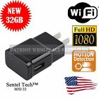 1080P WIFI USB SPY Camera Hidden Wall Phone Charger AC Adapter Plug DVR 32GB