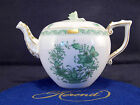 HEREND INDIAN BASKET GREEN TEAPOT,BRAND NEW,30 FL OZ HOLD,WITH ROSE LID END