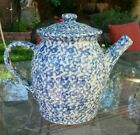 Henn Pottery Country Home Collection Spongeware Speckled Blue coffee tea pot