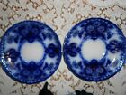 SONS, SEVILLE PATTERN, FLOW BLUE CUP SAUCERS, GILT DECORATED