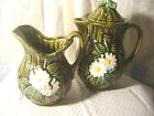 A SET***-TEA/COFFEE PITCHER-MATCHING CREAMER-***JAPAN-GREEN WITH WHITE FLOWERS