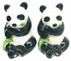 Adorable Bamboo Loving China Giant Panda Bear Salt Pepper Shaker Set Ceramic