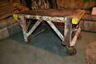 Antique urban Industrial Steampunk Factory Cart Coffee Table Railroad Cast Iron