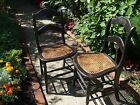 ANTIQUE LADDER BACK WOOD CHAIR CANE BOTTOM  SET OF 2 VERY GOOD CONDITION