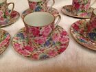 6 Vintage Pink Flower Small Teacups, Espresso, Demitasse, Made In Japan Vintage
