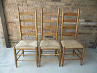 3 VINTAGE LADDER BACK CHAIRS WITH RUSH SEATS