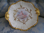 Tab Handled Limoges Charger; Cherubs Transfer; Intricate Raised Gold Paste