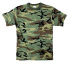 T SHIRT WOODLAND CAMO POLY COTTON BLEND MENS steeswing army bdu navy S TO 7X