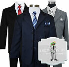 Kids Boys Formal Dress Wear Pinstripe Suit Sizes 2T 20 Colors BlackNavyGrey