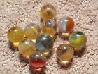 10 COLORFUL Old Vintage Vitro Cosmic Rainbows Collector's Marbles Lot 77N