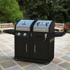 Dual Fuel Gas Grill Outdoor Charcoal BBQ Grills Patio Furniture Backyard Cooker