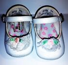 Wee Kids Infant Baby Girl WHITE Crib SHOES with Pink Flower  White Lace Size 0