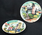 Rare Vintage Pottery Decorative Italian Wall Plates Set of 2 8 1/4