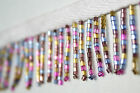 Lily Beaded Fringe Trim 1 1 2 Multi color Glass Bugle Bead with 3 8 Ribbon
