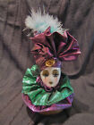 1 Jester Doll Head - 5 Inch - Shiny Material  - Mardi Gras Colors New Orleans