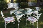 Vintage Mid Century Glass Top Wrought Iron Table With Chairs