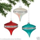 4040943 Dept 56 Set/3 Molded Top Ornaments Christmas Retro Teal Red White Silver