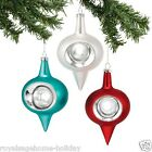 4040942 Dept 56 Set/3 Molded Onion Ornaments Christmas Retro Teal Red White